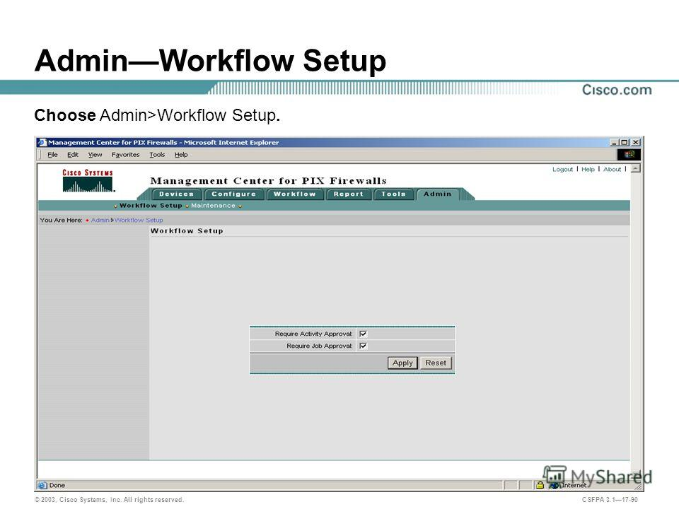 © 2003, Cisco Systems, Inc. All rights reserved. CSFPA 3.117-90 AdminWorkflow Setup Choose Admin>Workflow Setup.