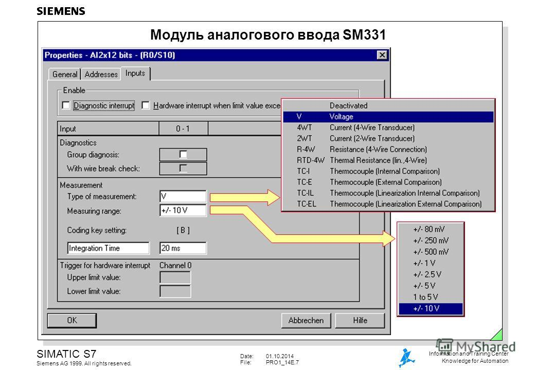 Date:01.10.2014 File:PRO1_14E.7 SIMATIC S7 Siemens AG 1999. All rights reserved. Information and Training Center Knowledge for Automation Модуль аналогового ввода SM331