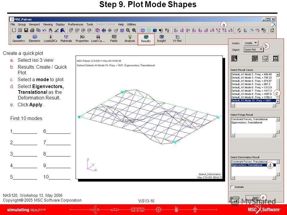 WS13-16 NAS120, Workshop 13, May 2006 Copyright 2005 MSC.Software Corporation Step 9. Plot Mode Shapes Create a quick plot a.Select iso 3 view b.Results: Create / Quick Plot. c.Select a mode to plot. d.Select Eigenvectors, Translational as the Deform
