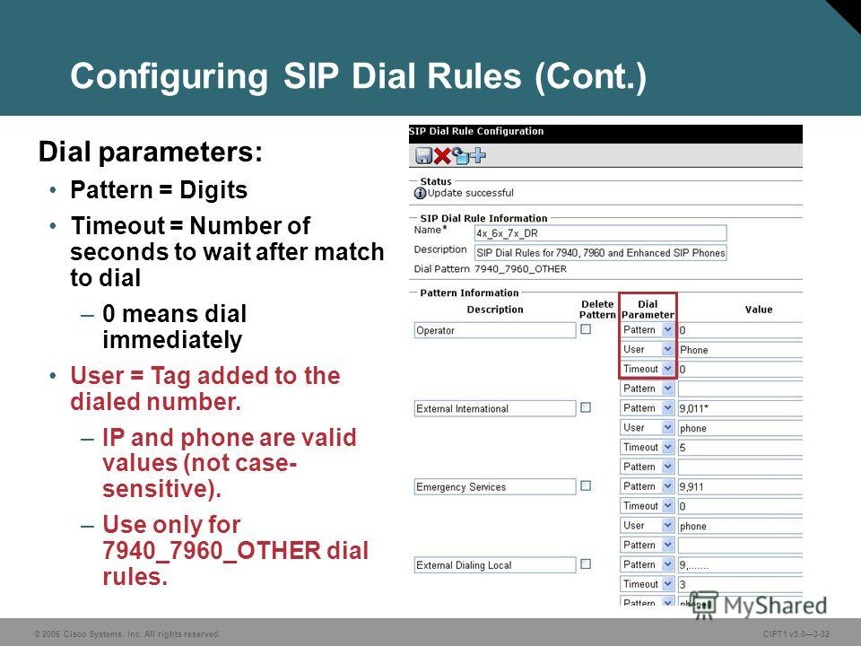 © 2006 Cisco Systems, Inc. All rights reserved. CIPT1 v5.03-32 Configuring SIP Dial Rules (Cont.) Dial parameters: Pattern = Digits Timeout = Number of seconds to wait after match to dial –0 means dial immediately User = Tag added to the dialed numbe