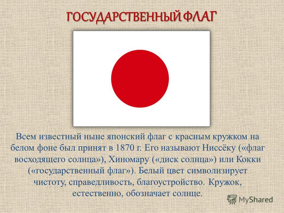 ГОСУДАРСТВЕННЫЙ ФЛАГ Всем известный ныне японский флаг с красным кружком на белом фоне был принят в 1870 г. Его называют Ниссёку («флаг восходящего солнца»), Хиномару («диск солнца») или Кокки («государственный флаг»). Белый цвет символизирует чистот