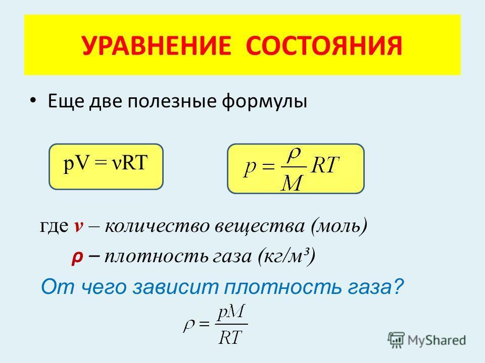 Еще две полезные формулы pV = ART где ν – количество вещества (моль) ρ – плотность газа (кг/м³) От чего зависит плотность газа? УРАВНЕНИЕ СОСТОЯНИЯ
