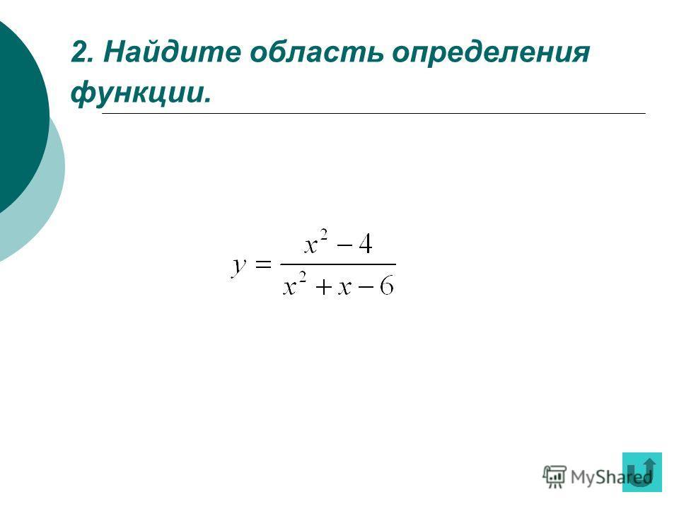 1. Какова область определения функции?