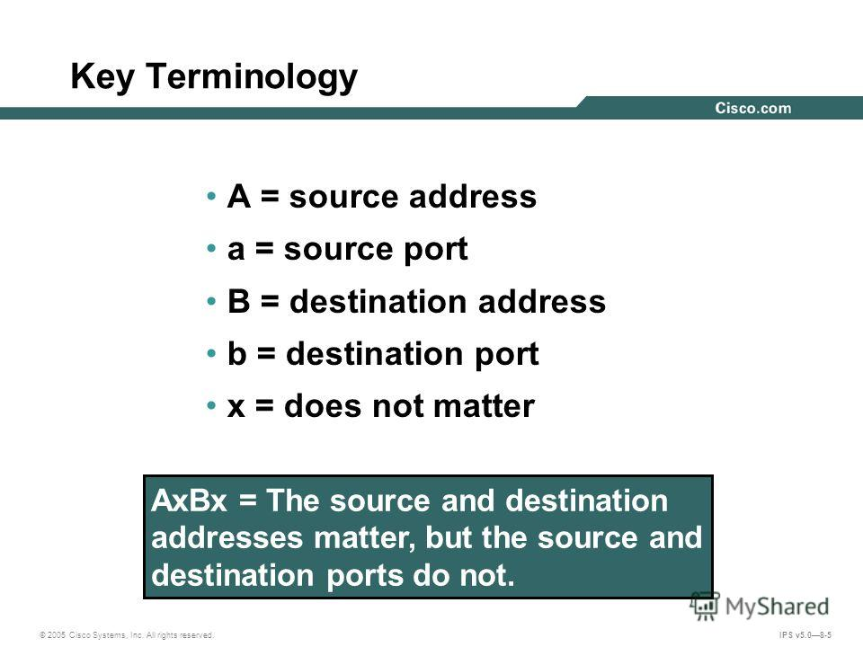 © 2005 Cisco Systems, Inc. All rights reserved. IPS v5.08-5 Key Terminology A = source address a = source port B = destination address b = destination port x = does not matter AxBx = The source and destination addresses matter, but the source and des