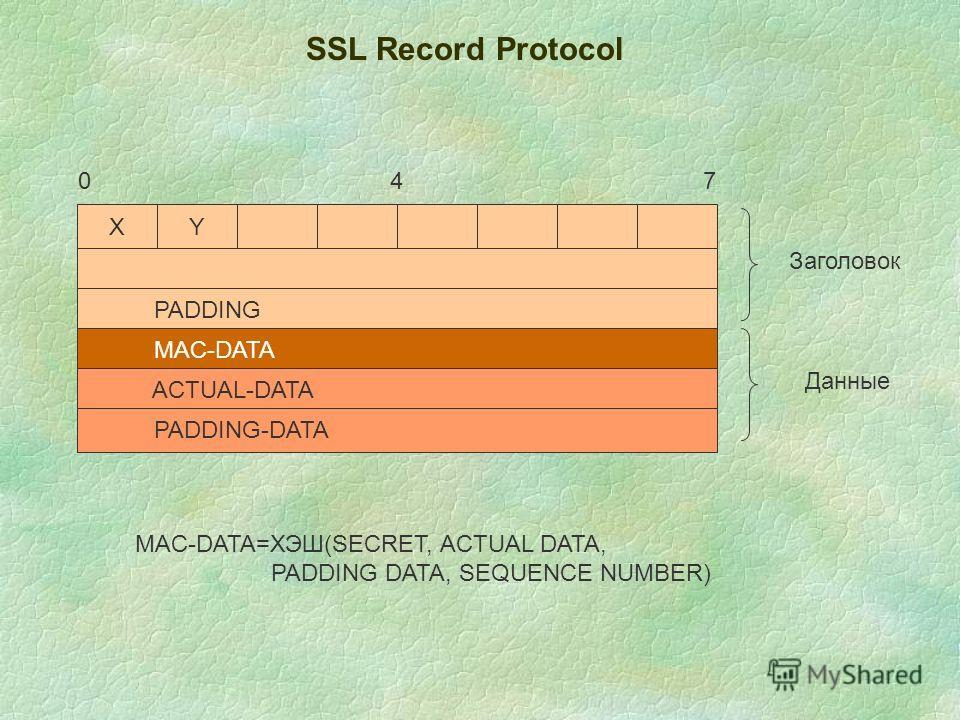 SSL Record Protocol ХY PADDING MAC-DATA ACTUAL-DATA PADDING-DATA 047 Заголовок Данные MAC-DATA=ХЭШ(SECRET, ACTUAL DATA, PADDING DATA, SEQUENCE NUMBER)