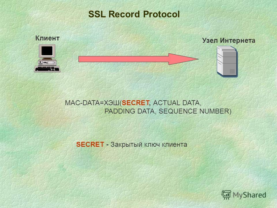 SSL Record Protocol Клиент Узел Интернета MAC-DATA=ХЭШ(SECRET, ACTUAL DATA, PADDING DATA, SEQUENCE NUMBER) SECRET - Закрытый ключ клиента