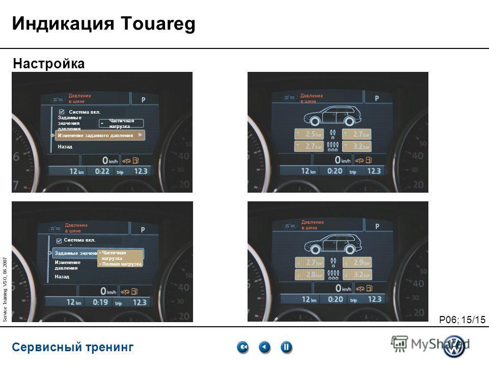 Сервисный тренинг P06; 15/15 Service Training VSQ, 06.2007 Индикация Touareg Настройка Давление в шине Давление в шине Система вкл. Заданные значения давления Изменение заданного давления Назад Частичная нагрузка Полная нагрузка Давление в шине Систе