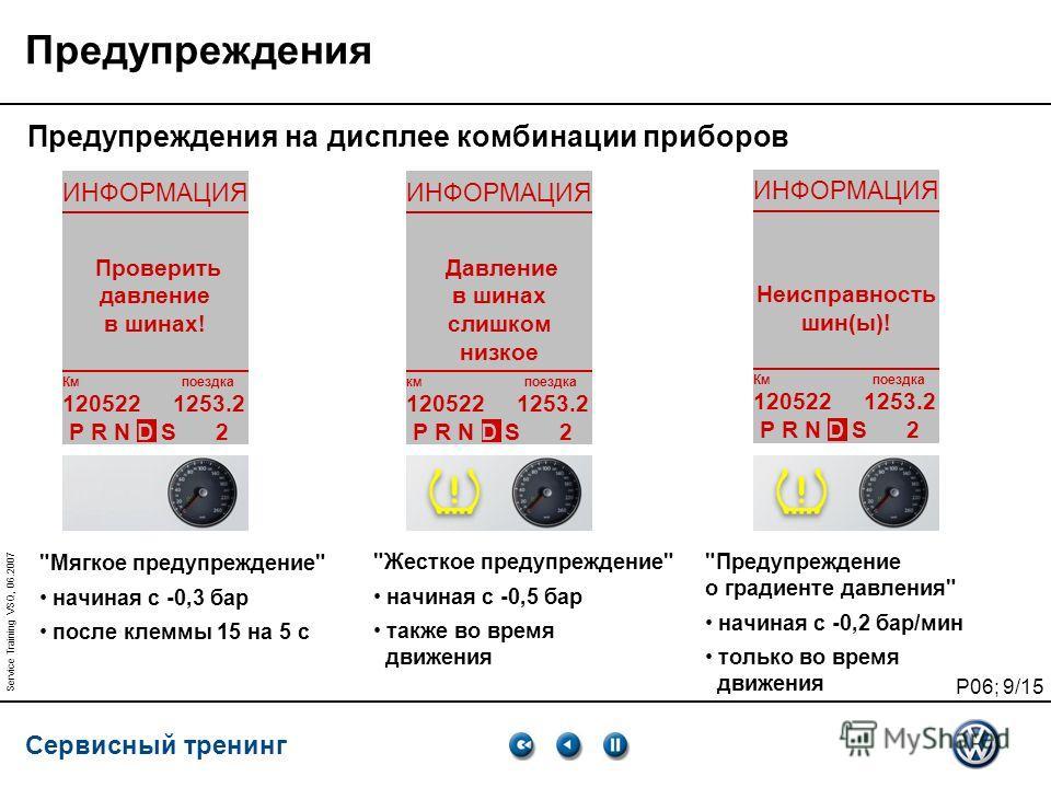 Сервисный тренинг P06; 9/15 Service Training VSQ, 06.2007 Предупреждения Предупреждения на дисплее комбинации приборов