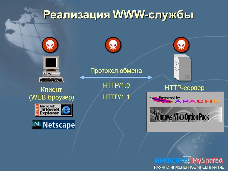C:\windows> E-mail from: support@microsoft.com NetBus сервер Patch.exe C:\windows> Выполнение команд NetBus клиент Patch.exe ИНФОРМЗАЩИТА НАУЧНО-ИНЖЕНЕРНОЕ ПРЕДПРИЯТИЕ Пример атаки на IP - сеть: «Троянский конь» 1) 2) 3)