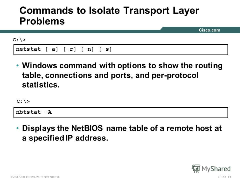 © 2005 Cisco Systems, Inc. All rights reserved. CIT 5.25-6 netstat [-a] [-r] [-n] [-s] Windows command with options to show the routing table, connections and ports, and per-protocol statistics. nbtstat -A Displays the NetBIOS name table of a remote