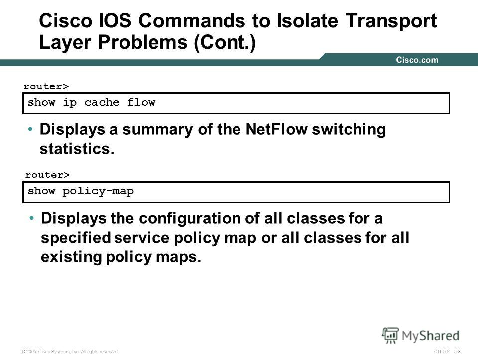 © 2005 Cisco Systems, Inc. All rights reserved. CIT 5.25-8 show ip cache flow router> Displays a summary of the NetFlow switching statistics. show policy-map router> Displays the configuration of all classes for a specified service policy map or all