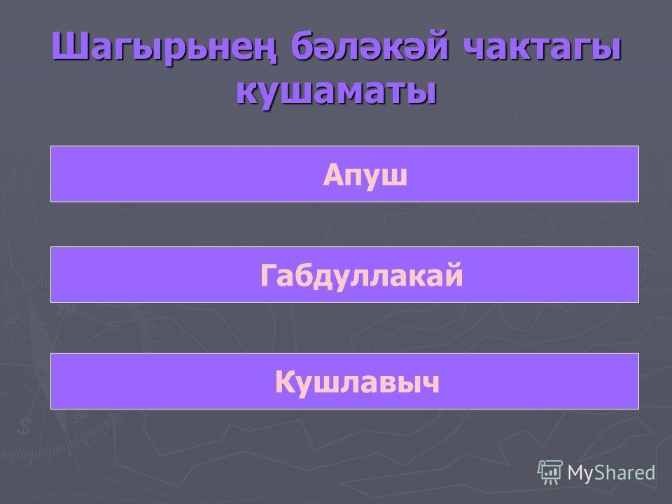 Шагырьнең бәләкәй чактагы кушаматы Апуш Габдуллакай Кушлавыч
