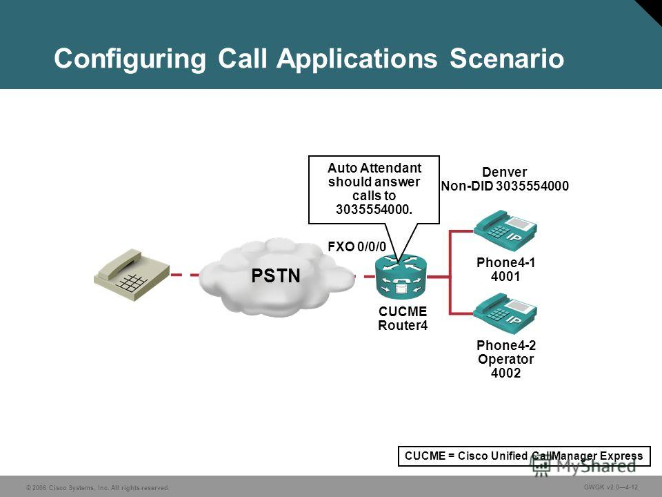 © 2006 Cisco Systems, Inc. All rights reserved. GWGK v2.04-12 Configuring Call Applications Scenario Phone4-2 Operator 4002 Phone4-1 4001 CUCME Router4 PSTN Auto Attendant should answer calls to 3035554000. Denver Non-DID 3035554000 FXO 0/0/0 CUCME =