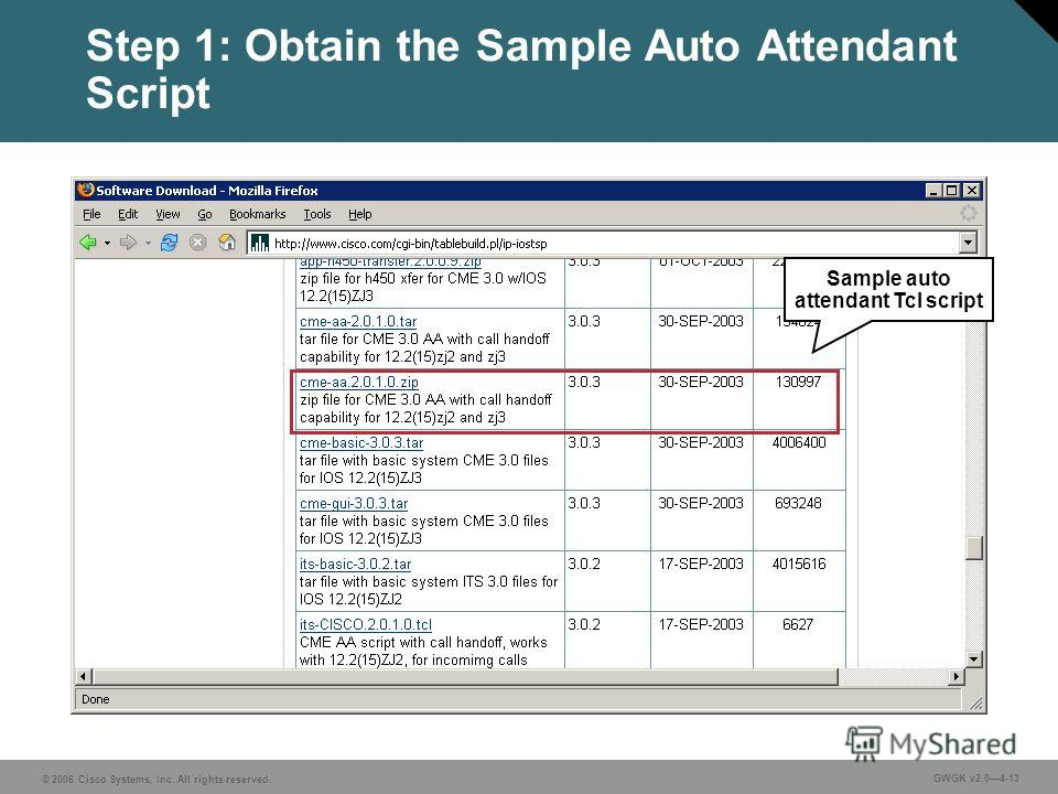 © 2006 Cisco Systems, Inc. All rights reserved. GWGK v2.04-13 Step 1: Obtain the Sample Auto Attendant Script Sample auto attendant Tcl script
