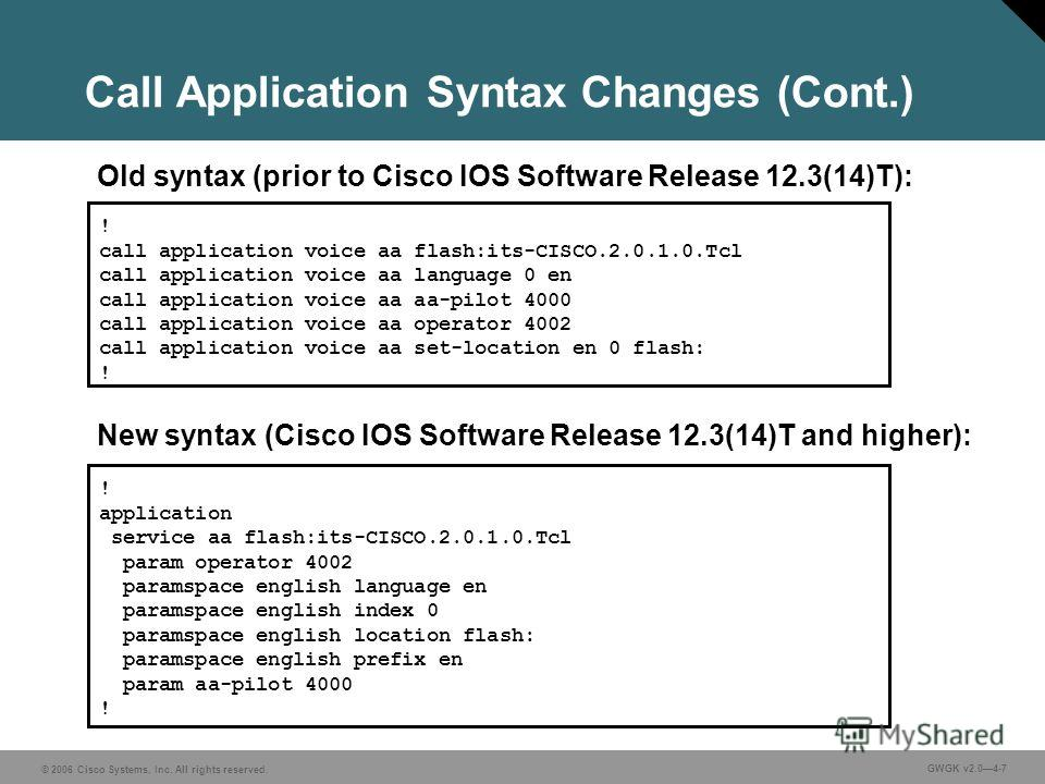 © 2006 Cisco Systems, Inc. All rights reserved. GWGK v2.04-7 Call Application Syntax Changes (Cont.) ! application service aa flash:its-CISCO.2.0.1.0. Tcl param operator 4002 paramspace english language en paramspace english index 0 paramspace englis
