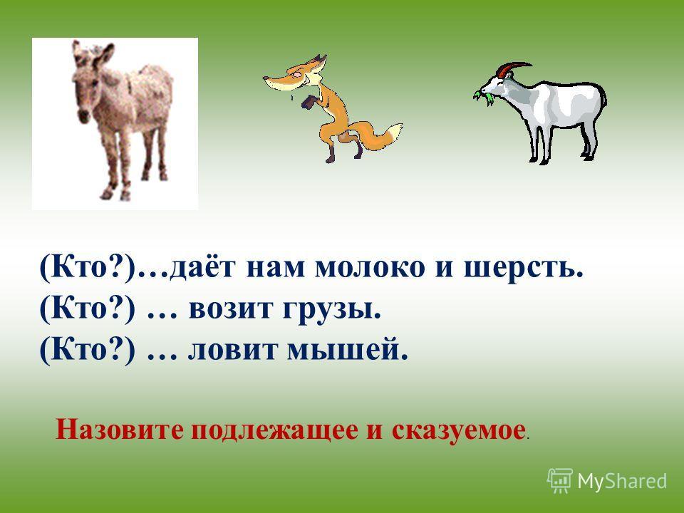 (Кто?)…даёт нам молоко и шерсть. (Кто?) … возит грузы. (Кто?) … ловит мышей. Назовите подлежащее и сказуемое.