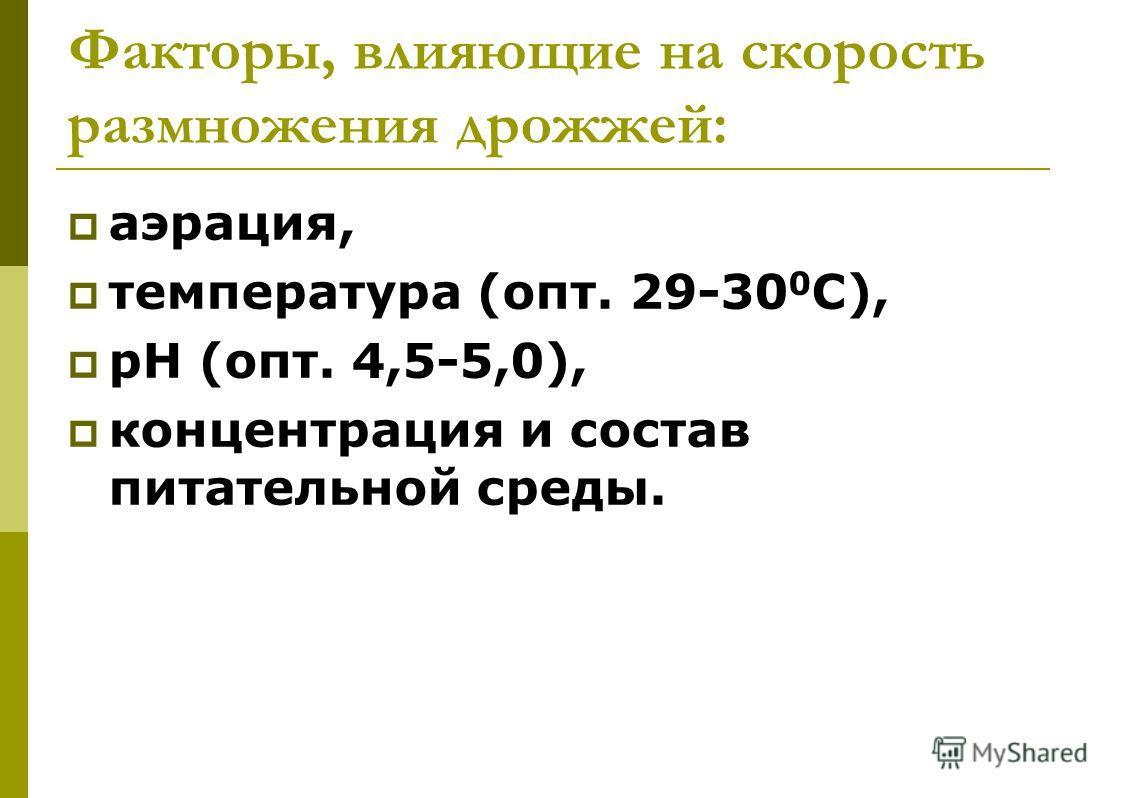 Факторы, влияющие на скорость размножения дрожжей: аэрация, температура (опт. 29-30 0 С), рН (опт. 4,5-5,0), концентрация и состав питательной среды.