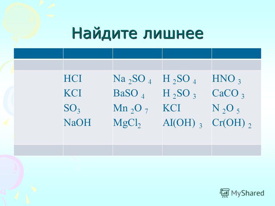 Найдите лишнее HCI KCI SO 3 NaOH Na 2 SO 4 BaSO 4 Mn 2 O 7 MgCl 2 H 2 SO 4 H 2 SO 3 KCI AI(OH) 3 HNO 3 CaCO 3 N 2 O 5 Cr(OH) 2