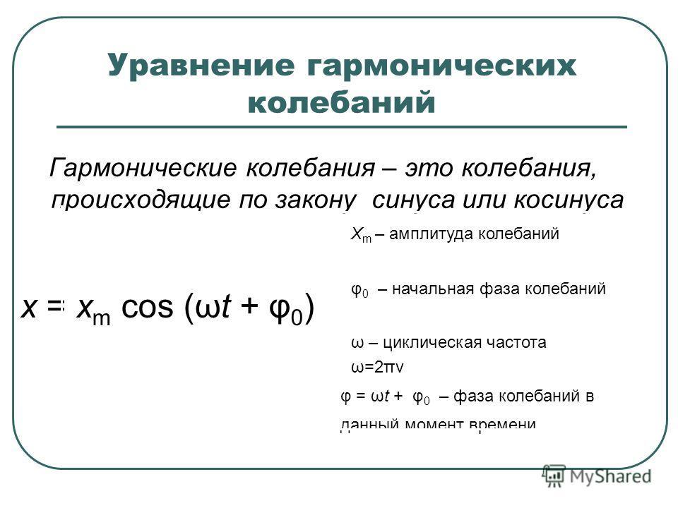 Уравнение гармонических колебаний Гармонические колебания – это колебания, происходящие по закону синуса или косинуса φ = ωt + φ 0 – фаза колебаний в данный момент времени ω – циклическая частота ω=2πν φ 0 – начальная фаза колебаний X m – амплитуда к
