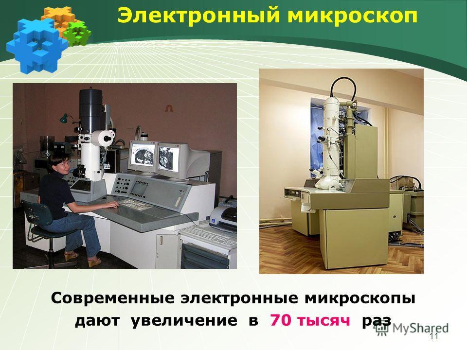 11 Электронный микроскоп Современные электронные микроскопы дают увеличение в 70 тысяч раз