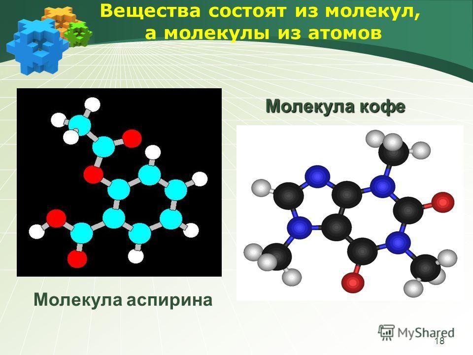 18 Вещества состоят из молекул, а молекулы из атомов Молекула кофе Молекула аспирина