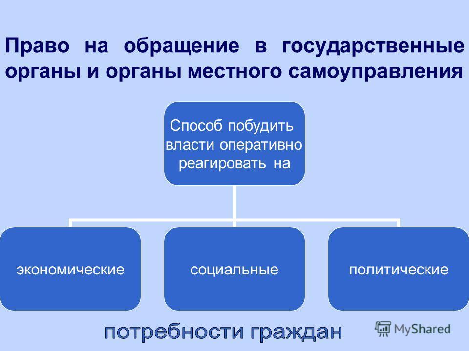 Право на обращение в государственные органы и органы местного самоуправления Способ побудить власти оперативно реагировать на экономические социальные политические