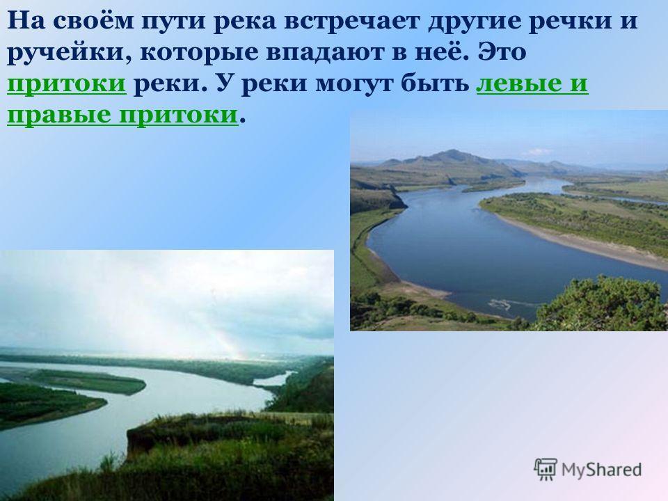 На своём пути река встречает другие речки и ручейки, которые впадают в неё. Это притоки реки. У реки могут быть левые и правые притоки.