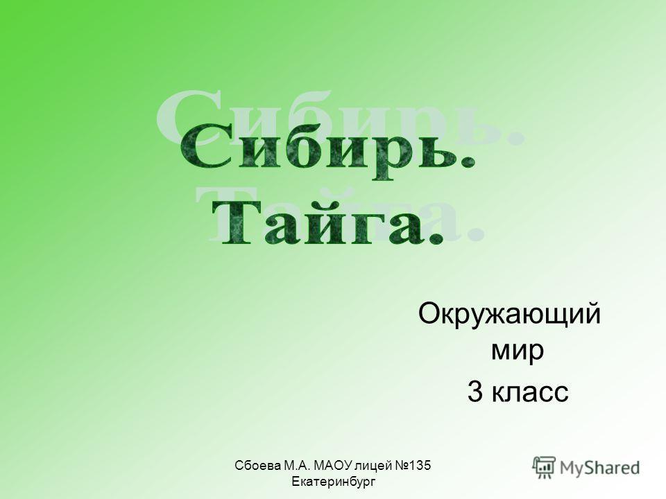 Сбоева М.А. МАОУ лицей 135 Екатеринбург Окружающий мир 3 класс