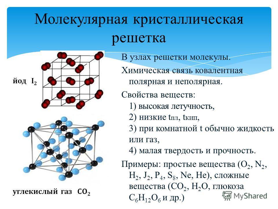 Молекулярная кристаллическая решетка В узлах решетки молекулы. Химическая связь ковалентная полярная и неполярная. Свойства веществ: 1) высокая летучность, 2) низкие t пл, t кип, 3) при комнатной t обычно жидкость или газ, 4) малая твердость и прочно