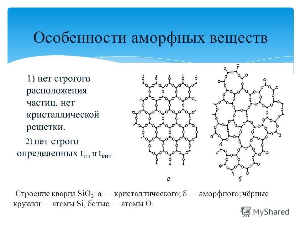 Особенности аморфных веществ 1) нет строгого расположения частиц, нет кристаллической решетки. 2) нет строго определенных t пл и t кип Строение кварца SiO 2 : а кристаллического; б аморфного; чёрные кружки атомы Si, белые атомы O.