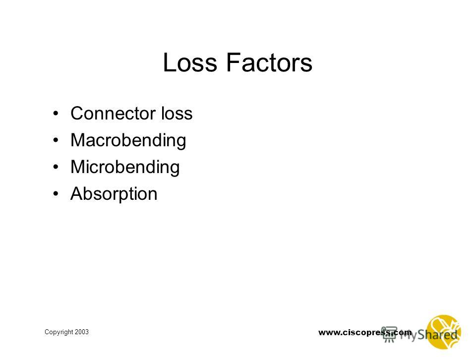 www.ciscopress.com Copyright 2003 Loss Factors Connector loss Macrobending Microbending Absorption
