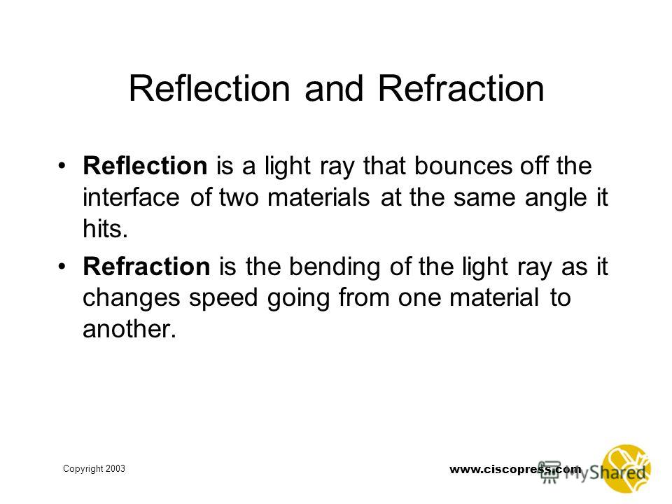 www.ciscopress.com Copyright 2003 Reflection and Refraction Reflection is a light ray that bounces off the interface of two materials at the same angle it hits. Refraction is the bending of the light ray as it changes speed going from one material to