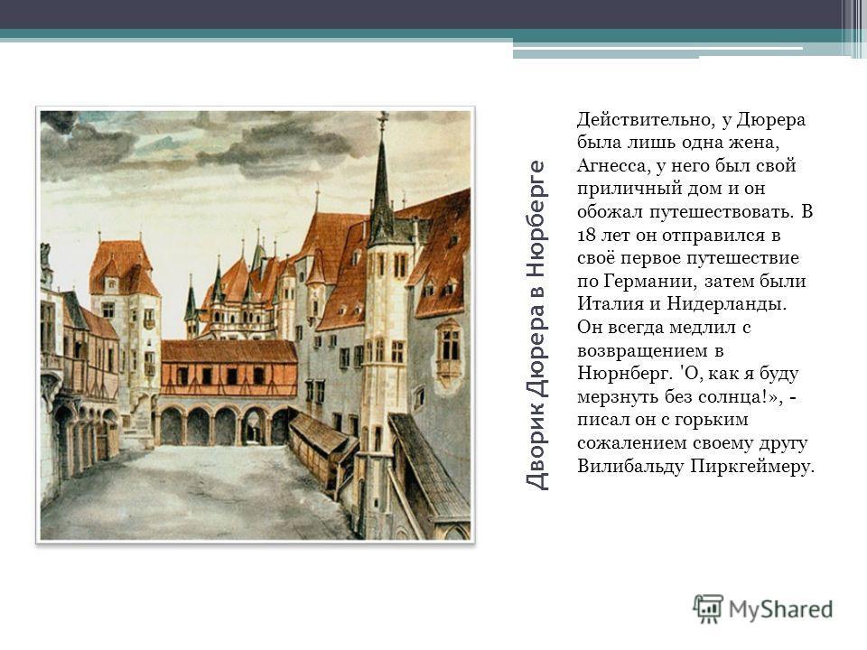 Дворик Дюрера в Нюрберге Действительно, у Дюрера была лишь одна жена, Агнесса, у него был свой приличный дом и он обожал путешествовать. В 18 лет он отправился в своё первое путешествие по Германии, затем были Италия и Нидерланды. Он всегда медлил с