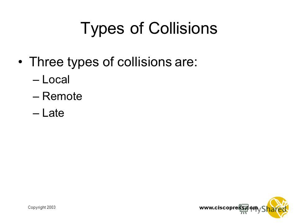 Copyright 2003 www.ciscopress.com Types of Collisions Three types of collisions are: –Local –Remote –Late