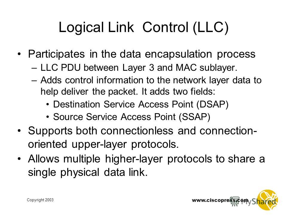 Copyright 2003 www.ciscopress.com Logical Link Control (LLC) Participates in the data encapsulation process –LLC PDU between Layer 3 and MAC sublayer. –Adds control information to the network layer data to help deliver the packet. It adds two fields: