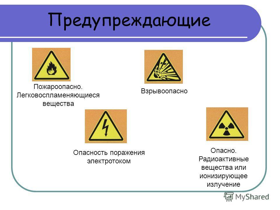 Предупреждающие Взрывоопасно Опасно. Радиоактивные вещества или ионизирующее излучение Опасность поражения электротоком Пожароопасно. Легковоспламеняющиеся вещества