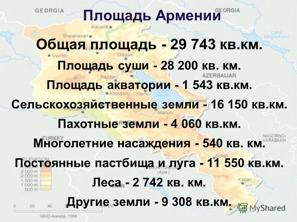 Площадь Армении Общая площадь - 29 743 кв.км. Площадь суши - 28 200 кв. км. Площадь акватории - 1 543 кв.км. Сельскохозяйственные земли - 16 150 кв.км. Пахотные земли - 4 060 кв.км. Многолетние насаждения - 540 кв. км. Постоянные пастбища и луга - 11