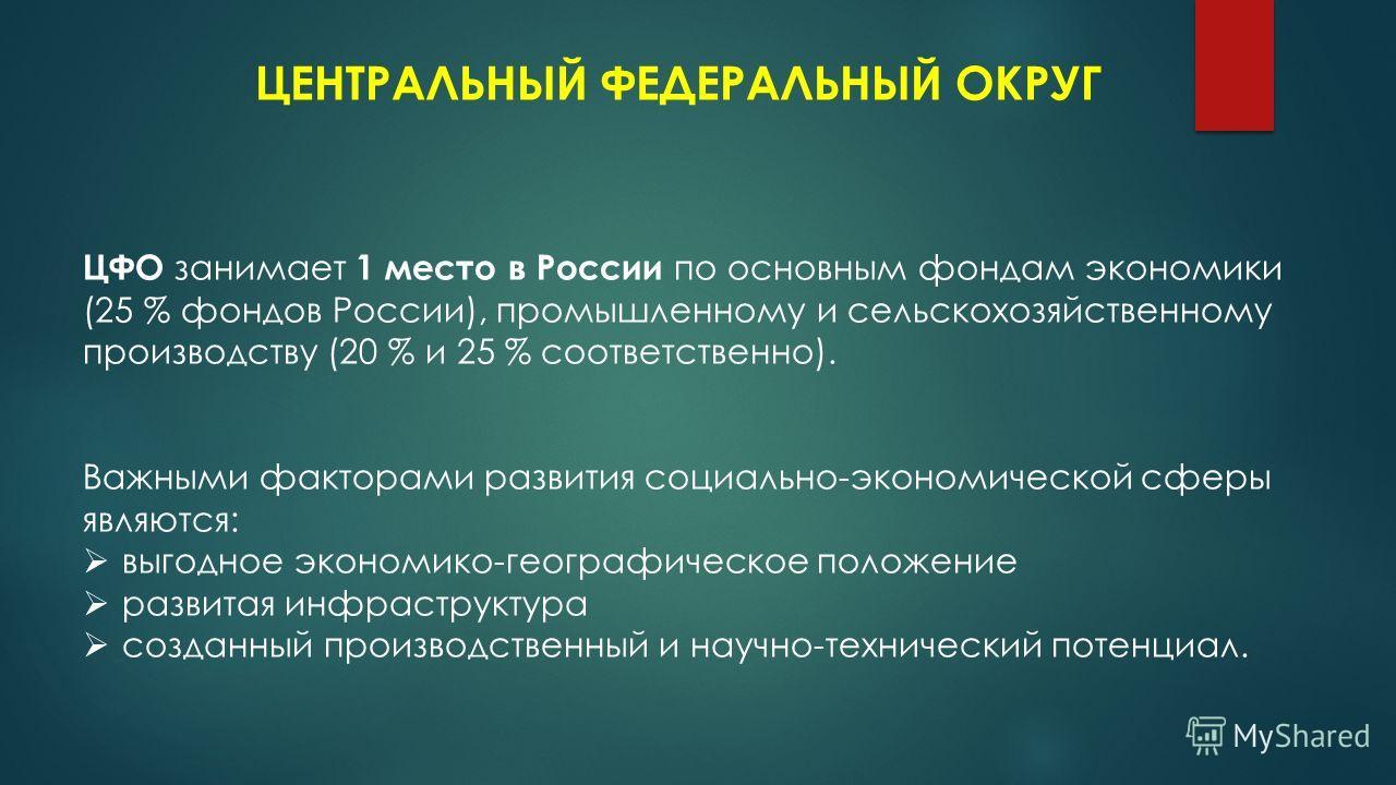 ЦЕНТРАЛЬНЫЙ ФЕДЕРАЛЬНЫЙ ОКРУГ ЦФО занимает 1 место в России по основным фондам экономики (25 % фондов России), промышленному и сельскохозяйственному производству (20 % и 25 % соответственно). Важными факторами развития социально-экономической сферы я