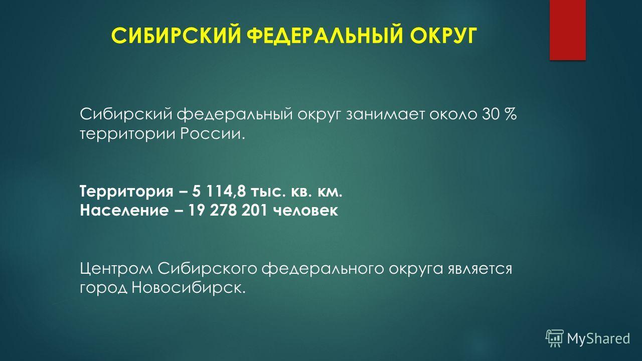СИБИРСКИЙ ФЕДЕРАЛЬНЫЙ ОКРУГ Сибирский федеральный округ занимает около 30 % территории России. Территория – 5 114,8 тыс. кв. км. Население – 19 278 201 человек Центром Сибирского федерального округа является город Новосибирск.