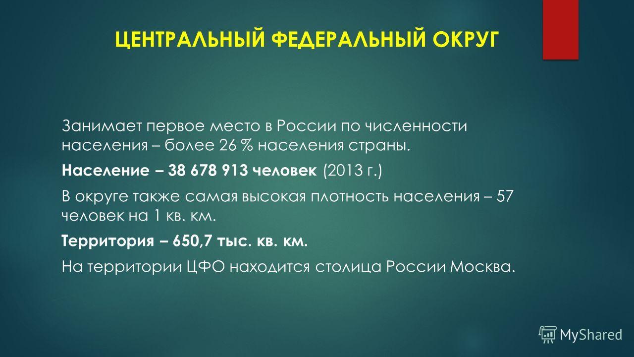 ЦЕНТРАЛЬНЫЙ ФЕДЕРАЛЬНЫЙ ОКРУГ Занимает первое место в России по численности населения – более 26 % населения страны. Население – 38 678 913 человек (2013 г.) В округе также самая высокая плотность населения – 57 человек на 1 кв. км. Территория – 650,