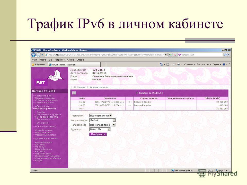 Трафик IPv6 в личном кабинете FST