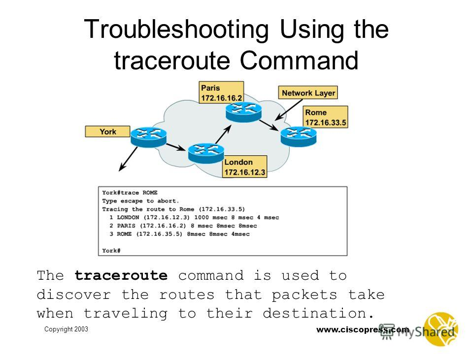 www.ciscopress.com Copyright 2003 Troubleshooting Using the traceroute Command The traceroute command is used to discover the routes that packets take when traveling to their destination.