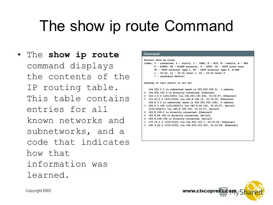 www.ciscopress.com Copyright 2003 The show ip route Command The show ip route command displays the contents of the IP routing table. This table contains entries for all known networks and subnetworks, and a code that indicates how that information wa