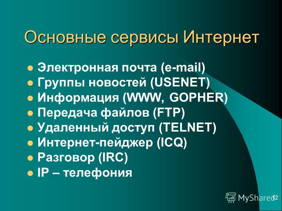 12 Основные сервисы Интернет Электронная почта (e-mail) Группы новостей (USENET) Информация (WWW, GOPHER) Передача файлов (FTP) Удаленный доступ (TELNET) Интернет-пейджер (ICQ) Разговор (IRC) IP – телефония