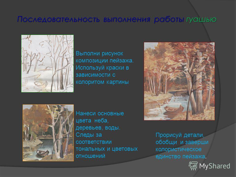 Последовательность выполнения работы гуашью Выполни рисунок композиции пейзажа. Используй краски в зависимости с колоритом картины Нанеси основные цвета неба, деревьев, воды. Следы за соответствии тональных и цветовых отношений Прорисуй детали, обобщ