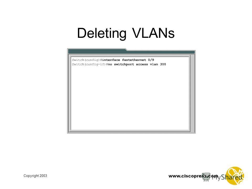 www.ciscopress.com Copyright 2003 Deleting VLANs