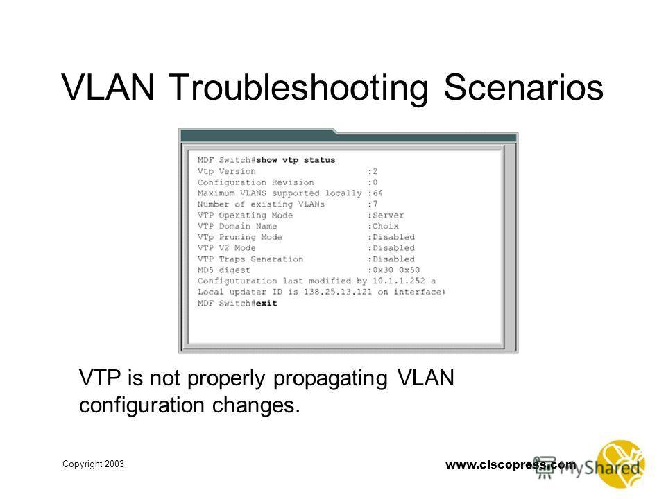 www.ciscopress.com Copyright 2003 VLAN Troubleshooting Scenarios VTP is not properly propagating VLAN configuration changes.