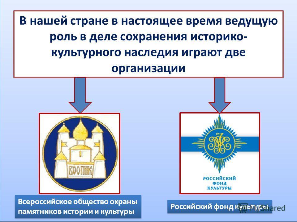 В нашей стране в настоящее время ведущую роль в деле сохранения историко- культурного наследия играют две организации Всероссийское общество охраны памятников истории и культуры Российский фонд культуры