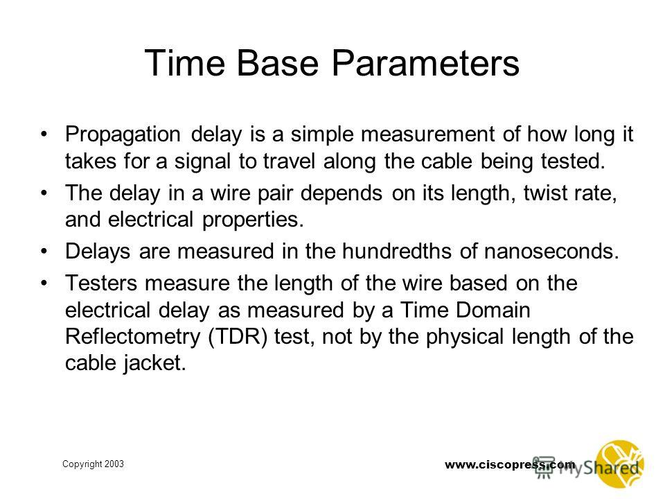 Copyright 2003 www.ciscopress.com Time Base Parameters Propagation delay is a simple measurement of how long it takes for a signal to travel along the cable being tested. The delay in a wire pair depends on its length, twist rate, and electrical prop