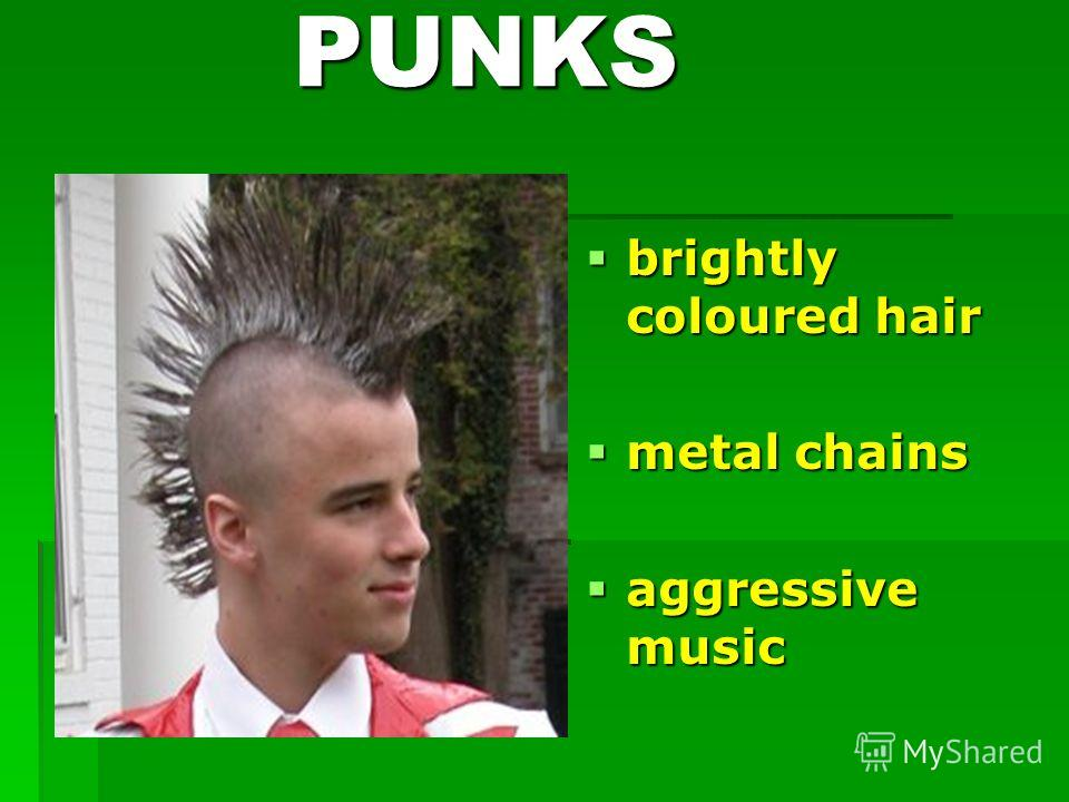 PUNKS PUNKS brightly coloured hair brightly coloured hair metal chains metal chains aggressive music aggressive music